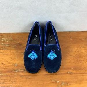 Sz 341/2 Vero Cuoio  Baggio Blue Suede Flats